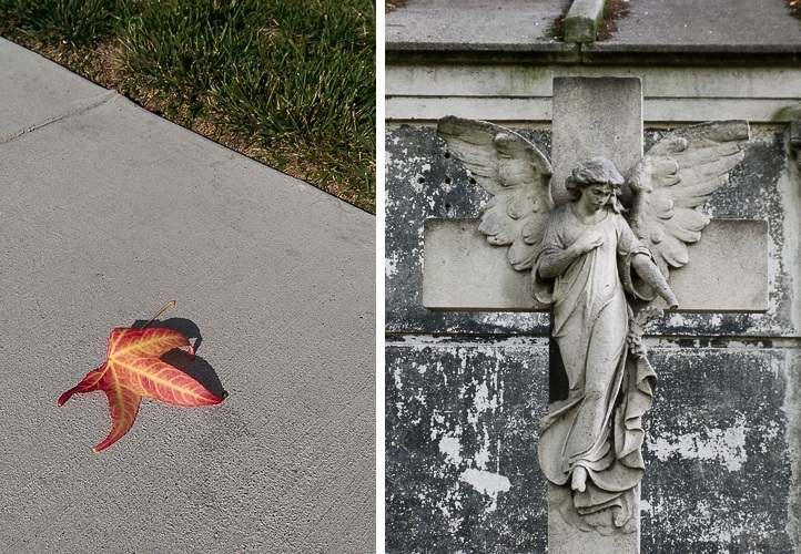 Paired photos of a single autumn leaf and an angel on a cross