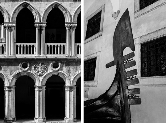 Two black and white photos side by side, one of arches, the other of a gondola ferro.