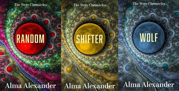 a triptych of the three WERE CHRONICLES covers, by Alma Alexander