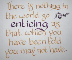 """calligraphy with a quote from THE TROPIC OF SERPENTS by Marie Brennan: """"There is nothing in the world so enticing as that which you have been told you may not have."""""""